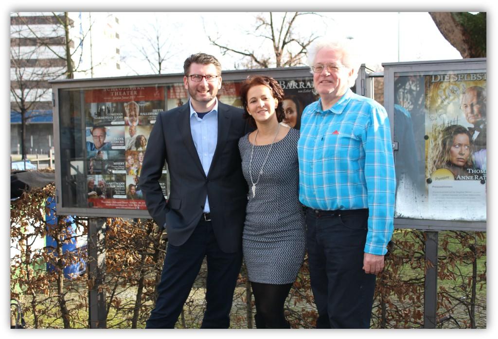 rbb Nachrichtenchef Axel Walter, CLIQUE-Herausgeberin Anita Tusch und Vorsitzender Freundeskreis Schlosspark Theater in Berlin e.V, nach einer Matinee 2015